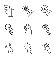 Types of arrows icons set outline style vector