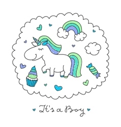 unicorn and rainbow vector image vector image