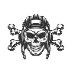 Vintage monochrome skull in tankist helmet vector