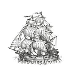 vintage wooden ship with sails navigation sketch vector image