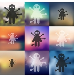 Voodoo doll icon on blurred background vector