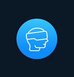 Vr glasses virtual reality headset line icon vector