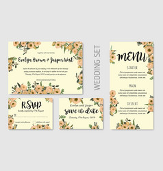 wedding invitation set floral invite thank you vector image