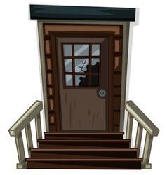wooden door with broken window vector image