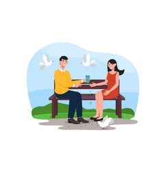 young couple is sitting on a bench in park vector image