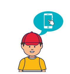 Young man avatar character with speech bubble vector