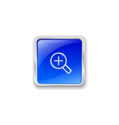 Zoom in icon on blue button vector image
