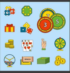 casino game icons poker gambler symbols blackjack vector image vector image