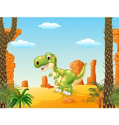 Cute baby tyrannosaur with the desert background vector image