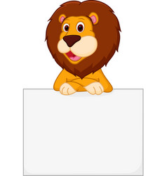 cute lion cartoon holding sign vector image vector image