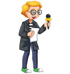 News reporter holding script and microphone vector image