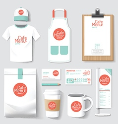 restaurant cafe set flyer menu package t-shirt vector image vector image