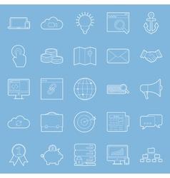Seo and e-marketing thin lines icon set vector image