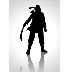 Silhouette of a man holding a sabre vector image vector image