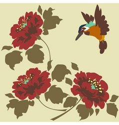 asian wallpaper with flowers and birds seamless vector image vector image