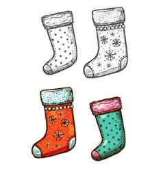 Christmas gift stockings isolated sketch icons set vector image