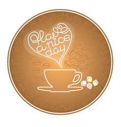 silhouette cup coffee grains text have a nice vector image