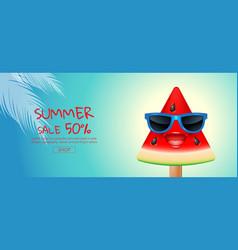 summer sale cartoon ice cream face layout vector image
