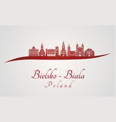 bielsko-biala skyline in red vector image vector image