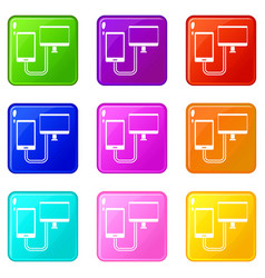 Connection phone icons 9 set vector