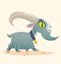 Cute cartoon goat running vector