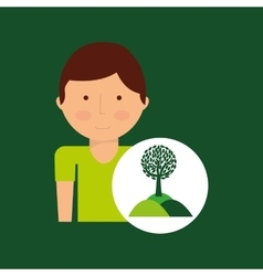 Environment icon boy with nature tree vector