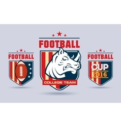 Flat football or rugby logo set for sport vector image