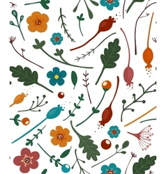 Flowers Leaves and Berries Seamless Pattern vector image vector image