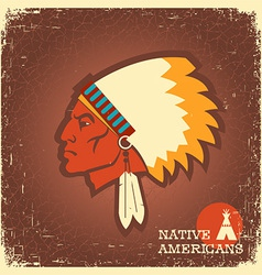 Native American man portrait vector image