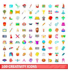 100 creativity icons set cartoon style vector image