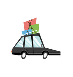 cartoon car with packages roof travel vector image