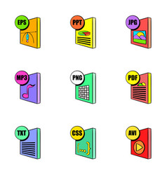 file extensions icons set cartoon style vector image