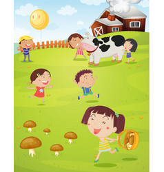 Kids playing on farm vector image vector image
