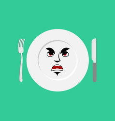 plate angry emoji empty dish isolated aggressive vector image