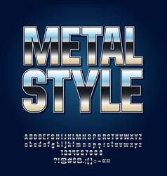 reflective silver metall style alphabet vector image