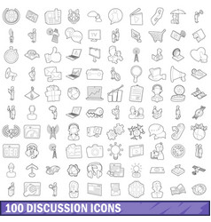 100 discussion icons set outline style vector