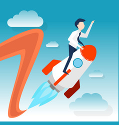 a businessman rides rocket for launching startup vector image