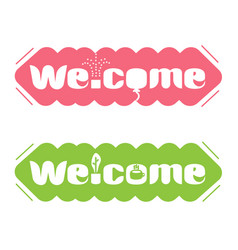 A set of banners with the word welcome vector