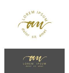 A u initials monogram logo design dry brush vector