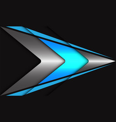 Abstract blue neon light silver arrow speed vector