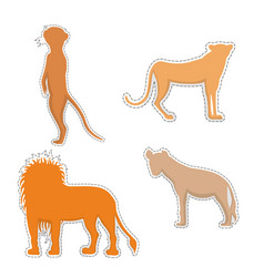 African animals silhouettes made as stickers vector