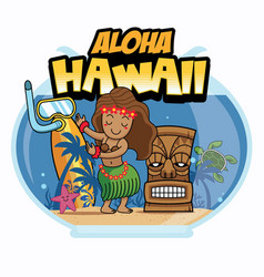 aloha hawaii cartoon design vector image