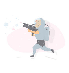 astronaut with gun character humor style vector image vector image