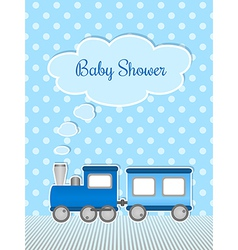 Baby shower for boy with sticker train vector image