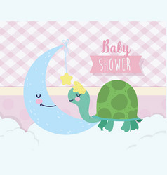 Bashower cute turtle and moon with star cartoon vector