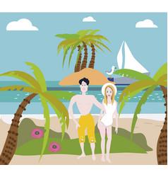 Beach couple walking on romantic travel honeymoon vector