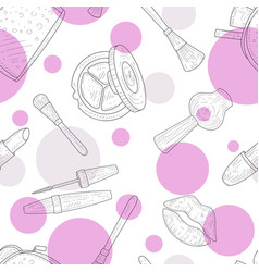 beauty salon seamless pattern cosmetics and vector image