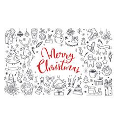big set of christmas design doodle elements vector image