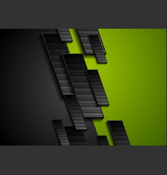 black and green tech geometrical background vector image
