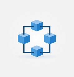 blockchain blue icon or design element vector image
